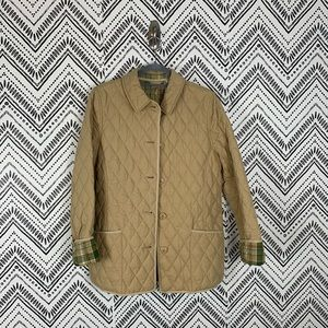 LL Bean Tan Plaid Lined Quilted Rider Barn Jacket